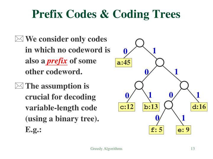 Prefix Codes & Coding Trees