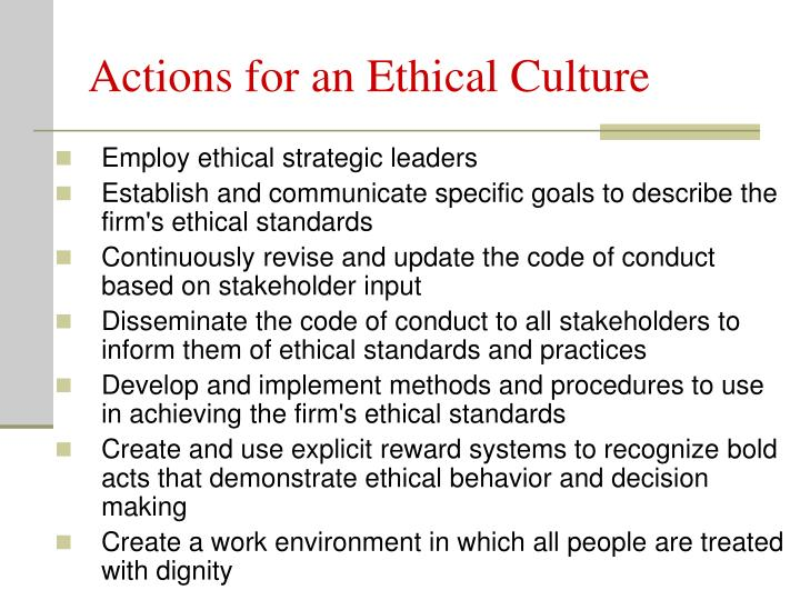 Actions for an Ethical Culture