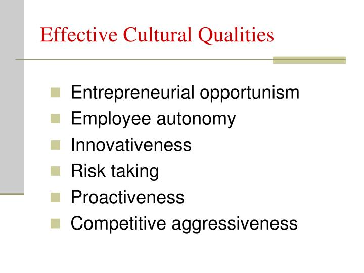 Effective Cultural Qualities