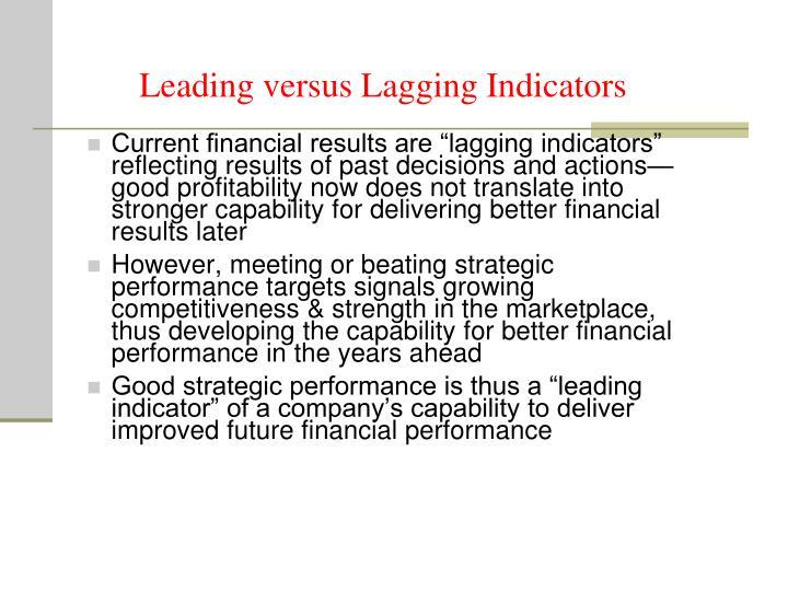 Leading versus Lagging Indicators