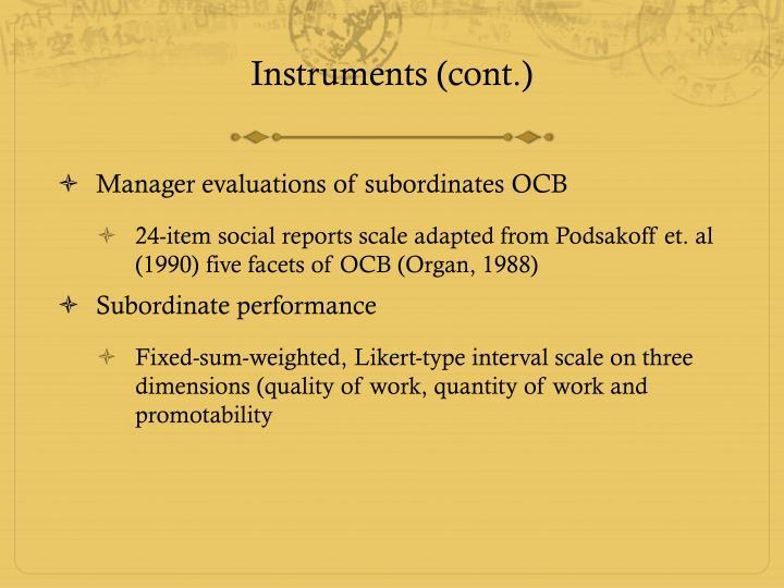 Instruments (cont.)