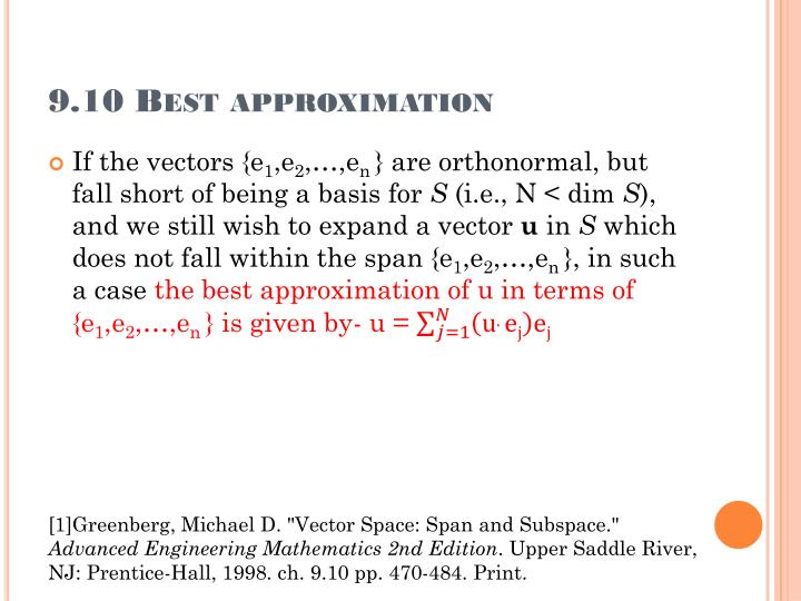 9.10 Best approximation