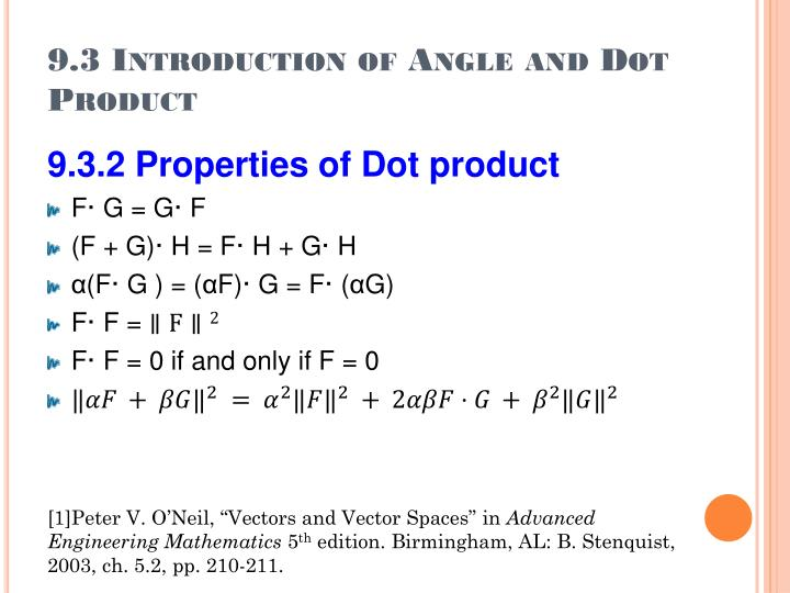 9.3 Introduction of Angle and Dot Product