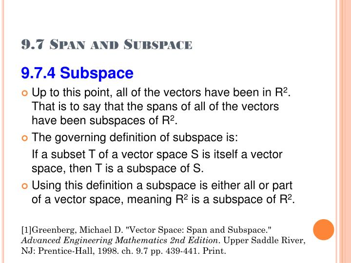9.7 Span and Subspace