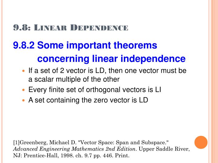 9.8: Linear Dependence