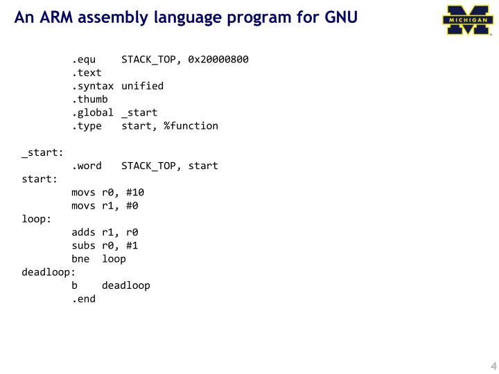 An ARM assembly language program for GNU