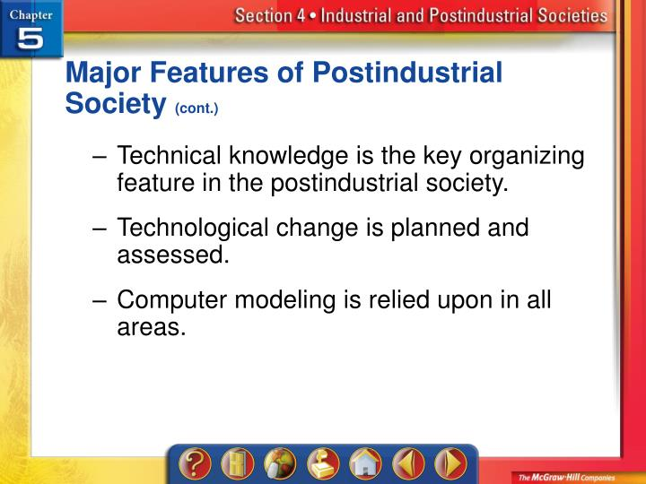 Major Features of Postindustrial Society
