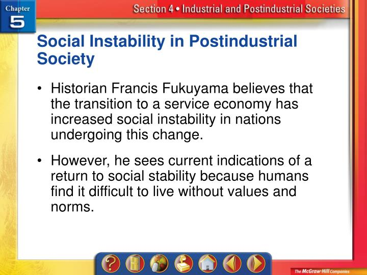 Social Instability in Postindustrial Society