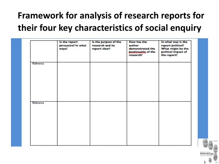 Framework for analysis of research reports for their four key characteristics of social enquiry