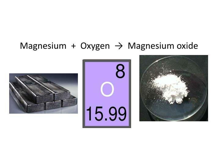 Magnesium  +  Oxygen  →  Magnesium oxide