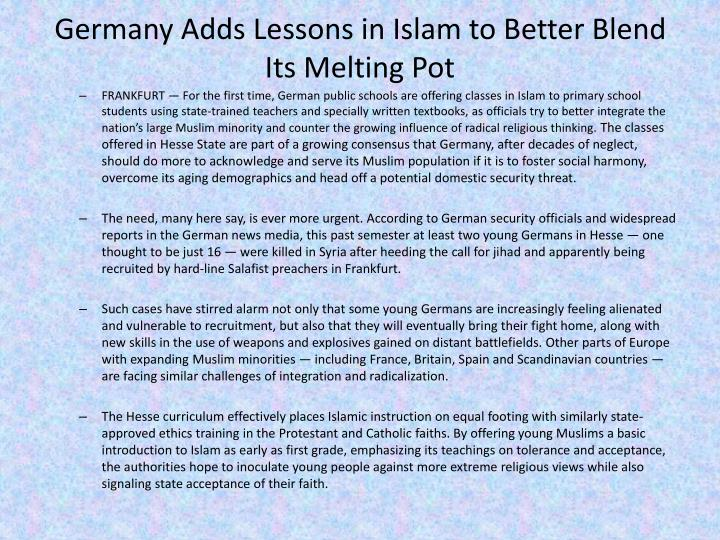 Germany Adds Lessons in Islam to Better Blend Its Melting Pot