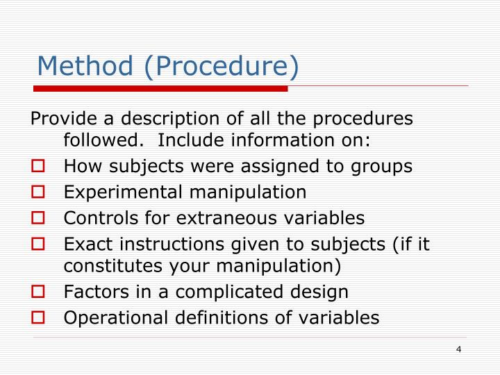 Method (Procedure)