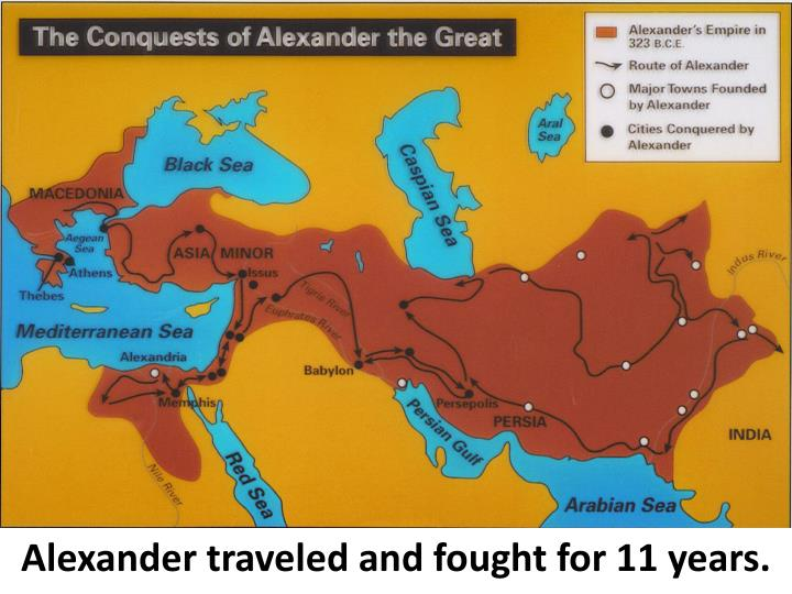 Alexander traveled and fought for 11 years.