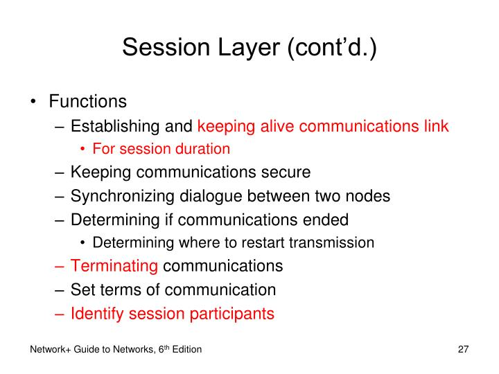 Session Layer (cont'd.)