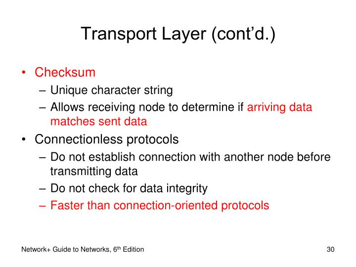 Transport Layer (cont'd.)