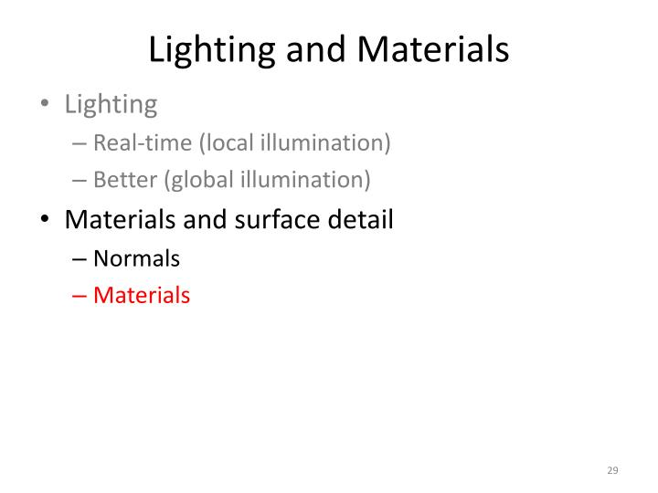 Lighting and Materials