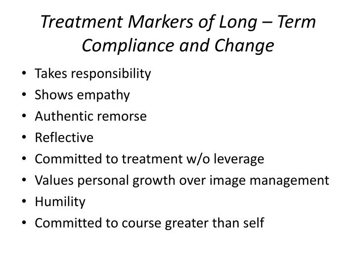Treatment Markers of Long – Term Compliance and Change
