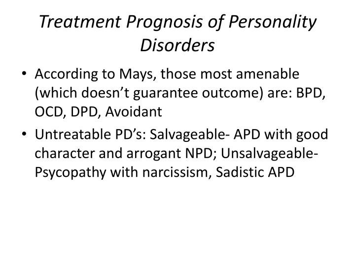 Treatment Prognosis of Personality Disorders