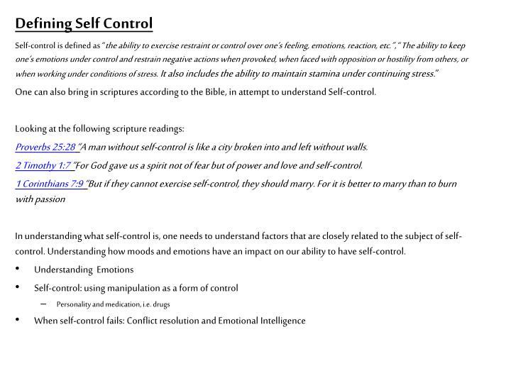 Defining Self Control