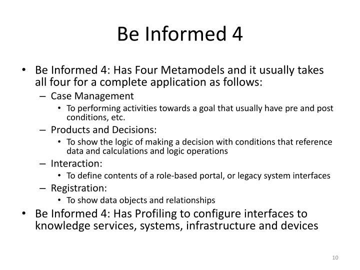 Be Informed 4