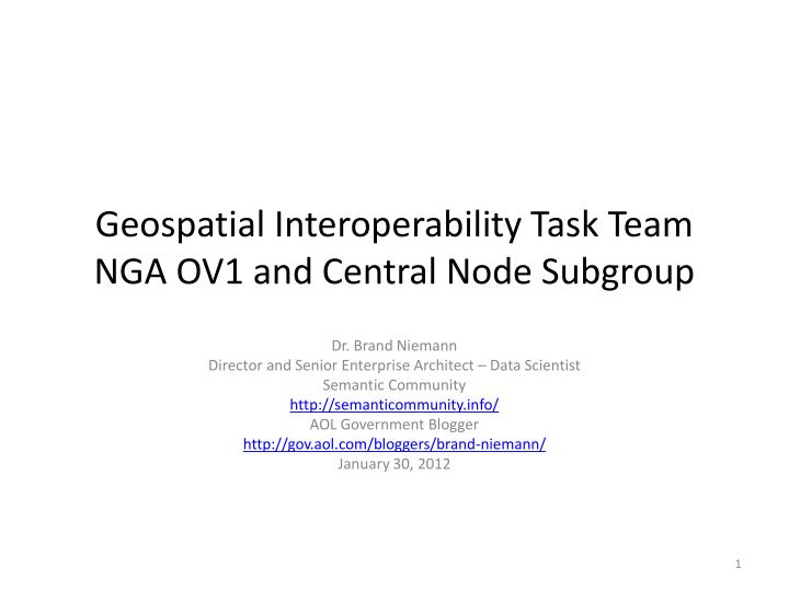 Geospatial interoperability task team nga ov1 and central node subgroup