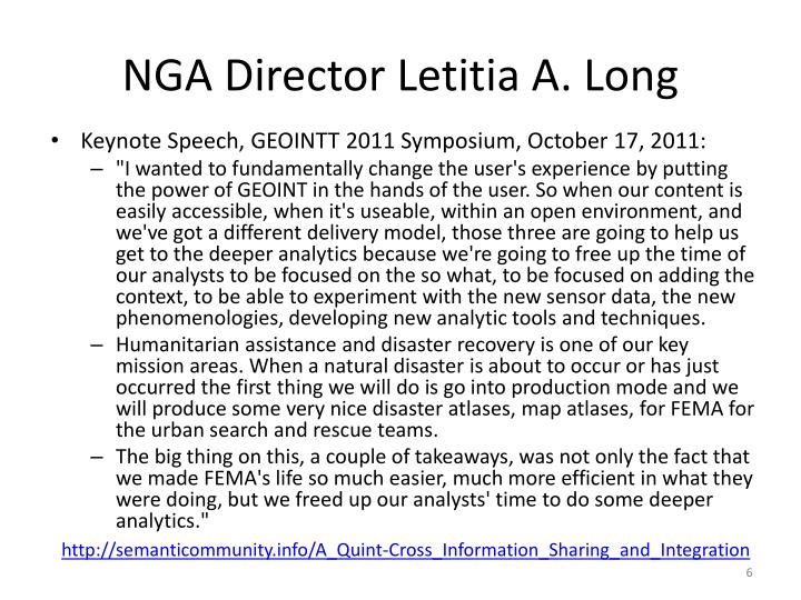 NGA Director Letitia A. Long