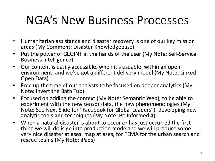 NGA's New Business Processes