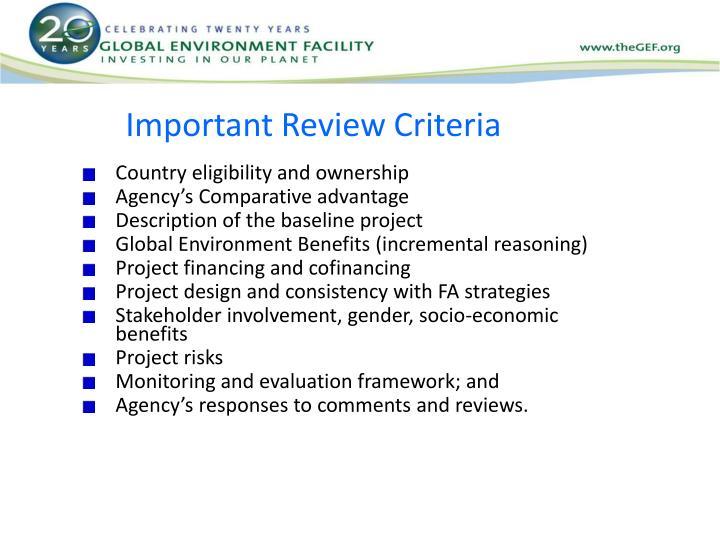Important Review Criteria