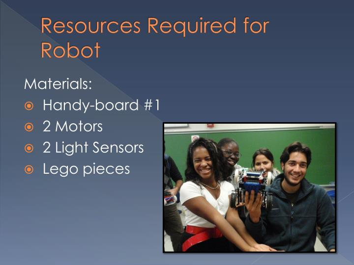 Resources Required for Robot