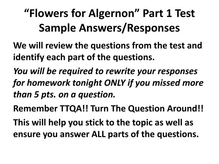 Flowers for algernon part 1 test sample answers responses