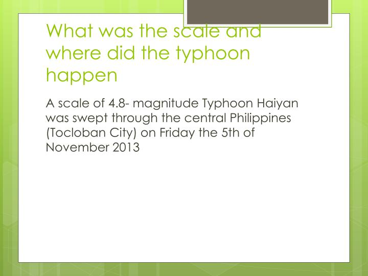 What was the scale and where did the typhoon happen