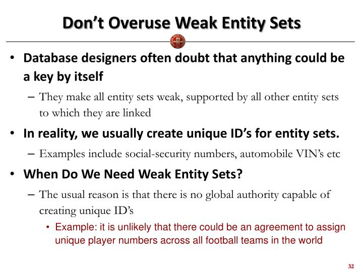 Don't Overuse Weak Entity Sets