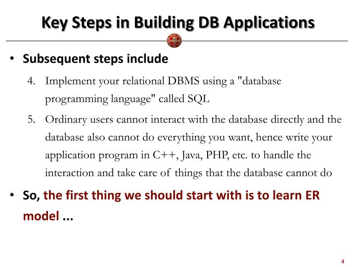 Key Steps in Building DB Applications