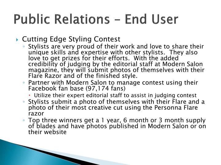 Public Relations – End User