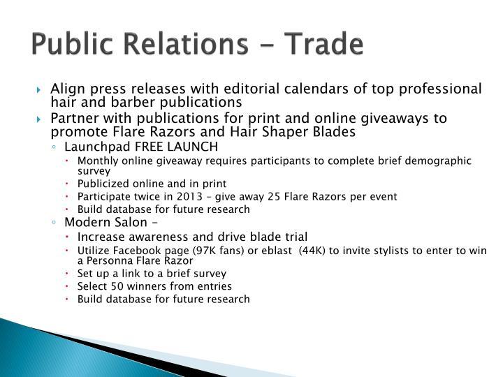 Public Relations - Trade