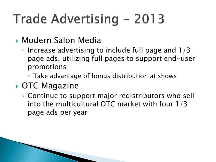 Trade Advertising - 2013