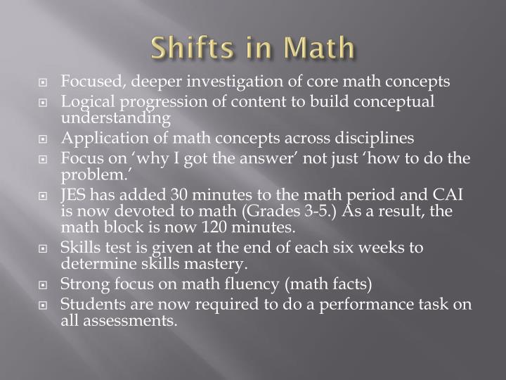 Shifts in Math