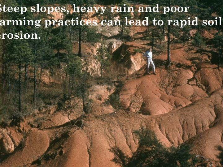 Steep slopes, heavy rain and poor farming practices can lead to rapid soil erosion.