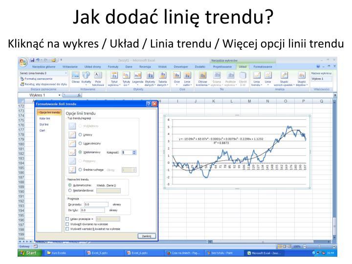 Jak dodać linię trendu?