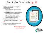 step 1 set standards pg 11