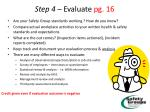 step 4 evaluate pg 16