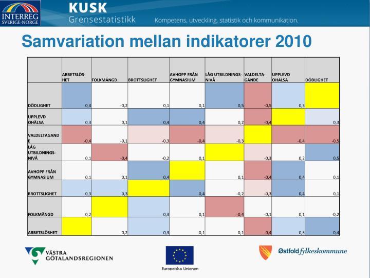Samvariation mellan indikatorer 2010