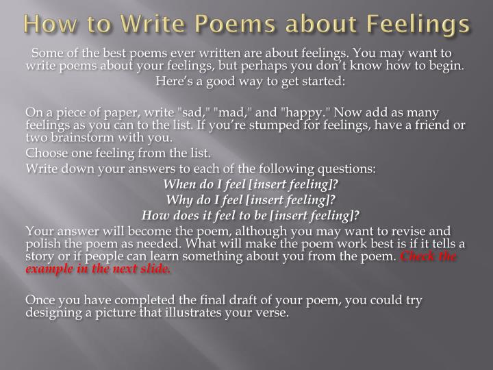 How to write poems about feelings