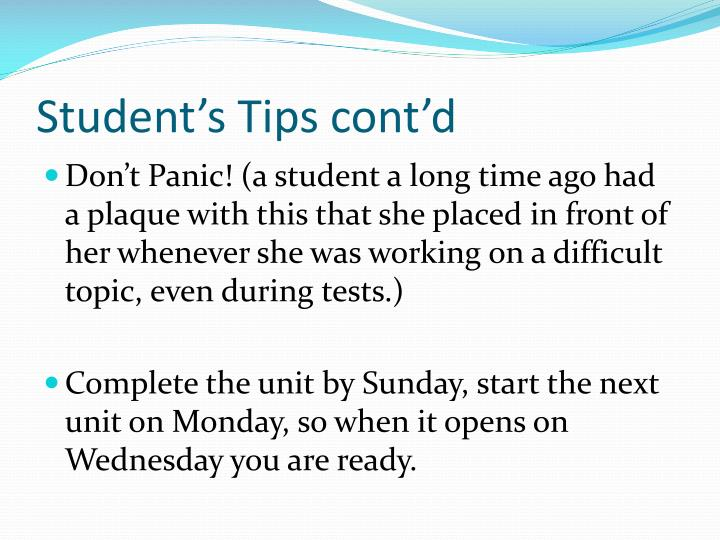 Student's Tips cont'd