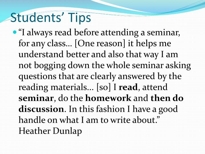 Students' Tips