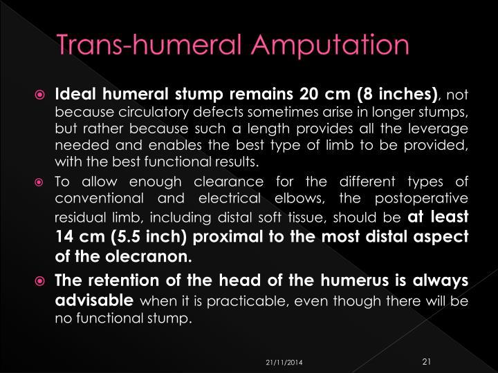 Trans-humeral Amputation