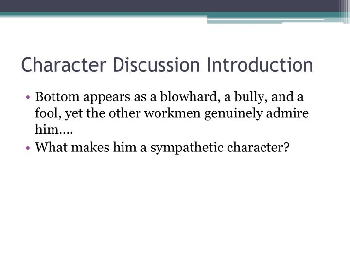 Character Discussion Introduction
