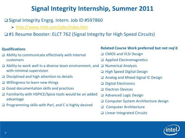 Signal Integrity Internship, Summer 2011