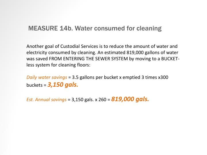 MEASURE 14b. Water consumed for cleaning