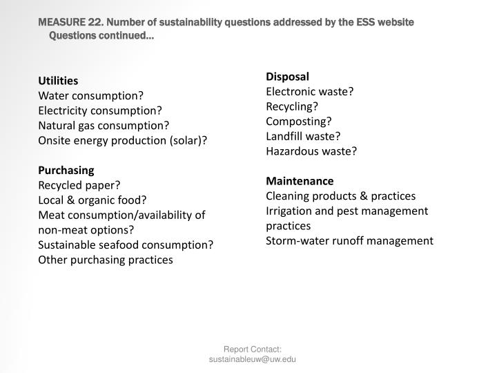 MEASURE 22. Number of sustainability questions addressed by the ESS website
